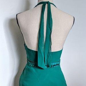 BCBGMaxAzria Dresses - BCBG MaxAzria green halter silk dress